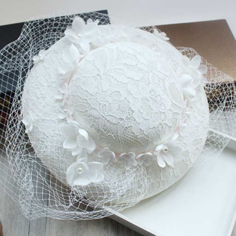 Pure White Wedding Hat 30CM WOmen Lace Flower Fascinator Hat Bride Veil Hair Accessories Vintage Fashion Derby Party Headdress