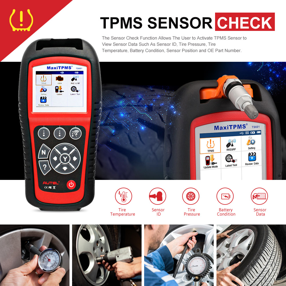 A New Generation TPMS Diagnostic Tool with a Wireless Sensor to Reset Activate Programming and OBD2 Code Reading Function Relearn Autel MaxiTPMS TS601