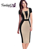 Fantaist Patchwork Contrast Color Optical Illusion Slim Wear To Work Fitted Pencil Dress Brief Causal Women