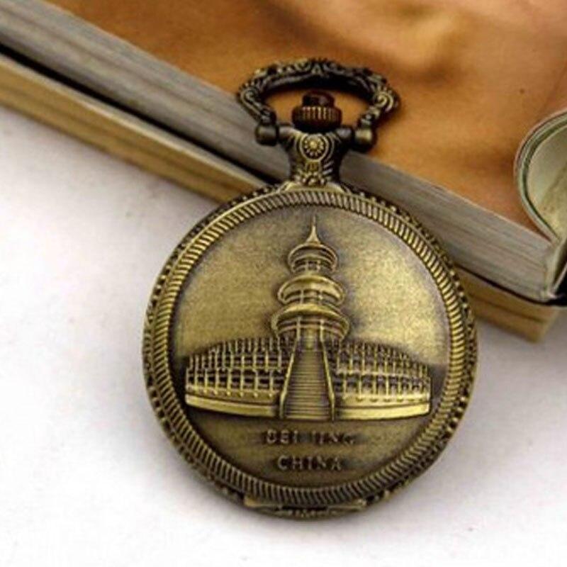 Дропшиппинг новое поступление Храм Неба Дизайн Античный карманные часы для унисекс подарок с цепочкой Цепочки и ожерелья ретро брелок часы