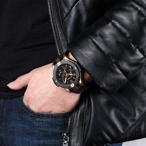 Image 5 - MEGIR Brand Men Watch Quartz Watch Gold Rubber Band 3ATM Water Resistant Chronograph Mens Quartz Wrist Watch