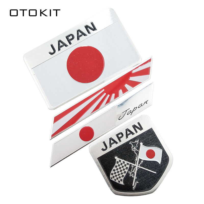 Japanese Flag Emblem Badge Car Styling Motorcycle Sticker Decal for KAWASAKI SUZUKI YAMAHA Honda Toyota Nissan Mazda Mitsubishi