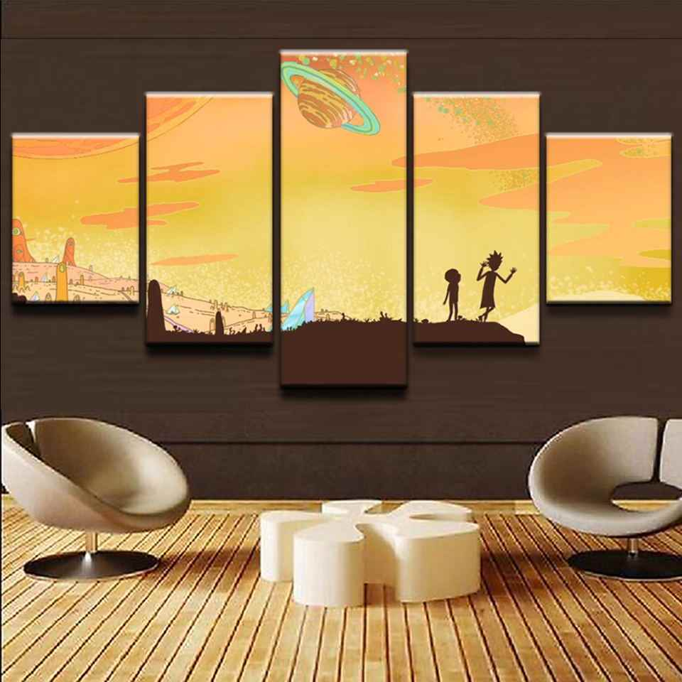 Fashion Print Painting Kid Room Home Decoration 5 Set Cartoon Rick And Morty Modular Hang Picture Wall Pop Artwork Canvas Poster