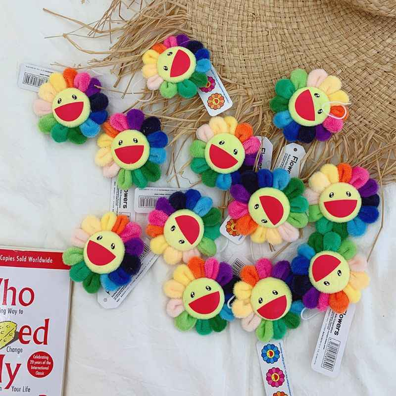 Children Women Summer Rainbow Fake Sunflowers Doll Keychain Brooch Pin Cute Plush Hanging Ornaments Bag Pendant Decoration Toy