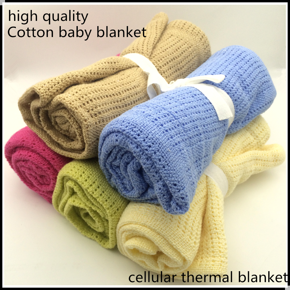Newborn Baby Blankets Super Soft Cotton Crochet Summer 100cmX80cm Candy Color Prop Crib Casual Sleeping Bed Supplies Hole Wrap
