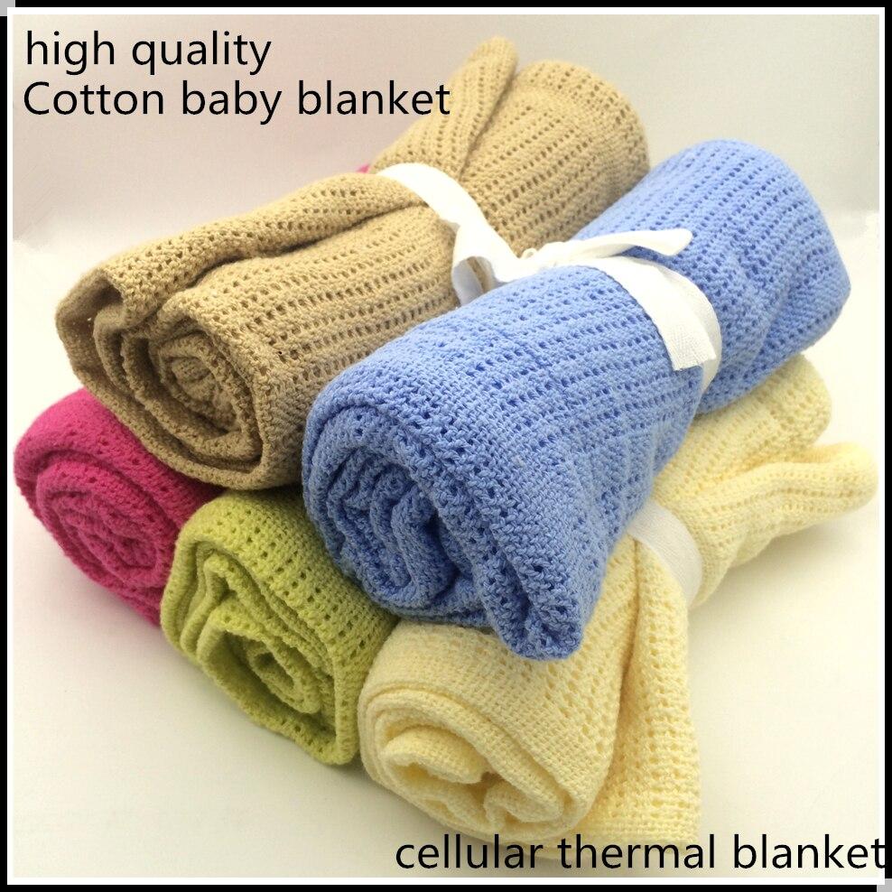 Nouveau-né Bébé Couvertures Super Doux Coton Crochet D'été 100 cm X 80 cm Bonbons Couleur Prop Lit Couchage Occasionnel Lit fournitures Trou Wrap