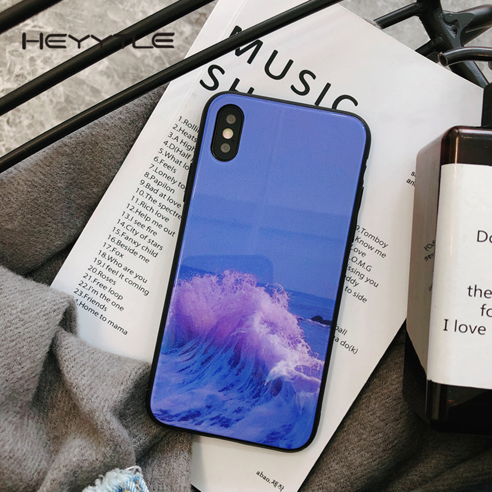 Heyytle Phone Cover For Apple iPhone X 8 7 6S 6 Plus Case Fashion Tempered Glass Cute Back Cover Cases For iPhone 10