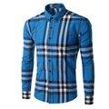 Camisa para hombre de la Marca de Moda 2017 Primavera Camisa de Manga Larga Hombres Camisa A Cuadros Camisa Masculina de Los Hombres Ocasionales Adelgazan Camisetas De Rayas M-XXXL