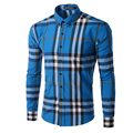 Mens Shirt 2017 Fashion Brand Spring Men's Plaid Shirt Male Long Sleeve Shirt Camisa Masculina Casual Slim Striped Shirts M-XXXL