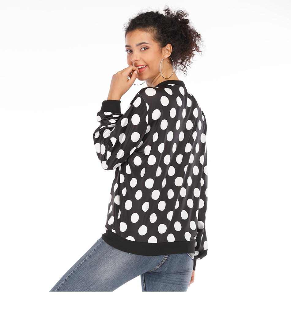 Rose Leopard Spring Women's Jackets Plus Size Short Female Coat Zipper Chaqueta Long Sleeve Polka Dot Women Bomber Jacket 12