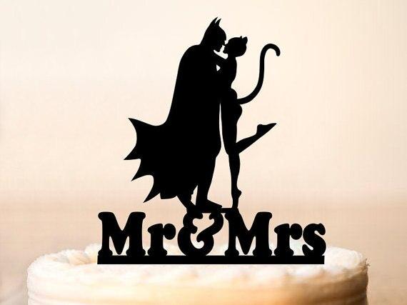 Fashion Mr Mrs Batman And Catwoman Wedding Cake Topper