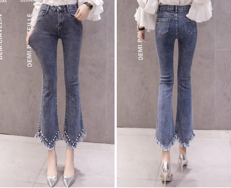 High Waist Women Jeans Flare Pants Tessal Bead Slim Fashion Pants High Waist High Elastic Ankle-Length Denim Trousers 19