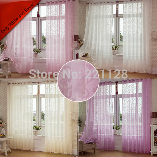 pink yellow white beige modern rustic solid curtain window screening/yarn/organza  finished product