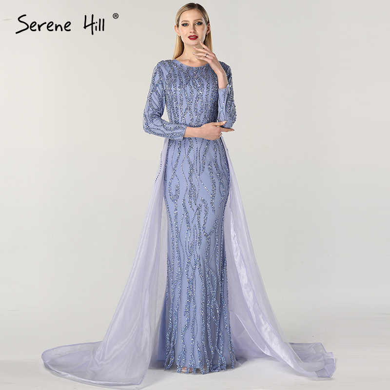 5bf9b52e6b578 Grey Mermaid Luxury Dubai Designer Evening Dresses Beading Sequined Fashion Long  Sleeves Evening Gowns 2019 Serene