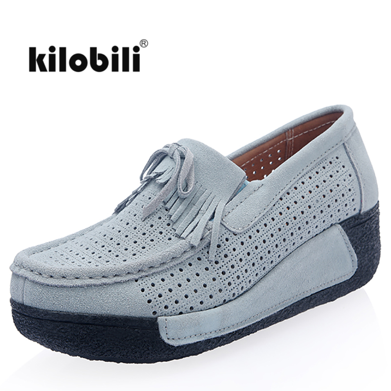 kilobili 2018 Summer women flats shoes platform sneakers shoes   leather     suede   cutout casual shoes slip on flats moccasin creepers