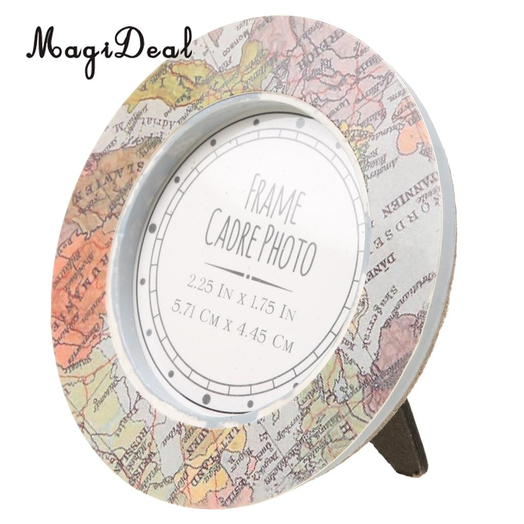 MagiDeal Vintage Map Picture Photo Frame Kids Birthday Party Table Place Card Holder Decor for Travel Wedding Favors Gifts
