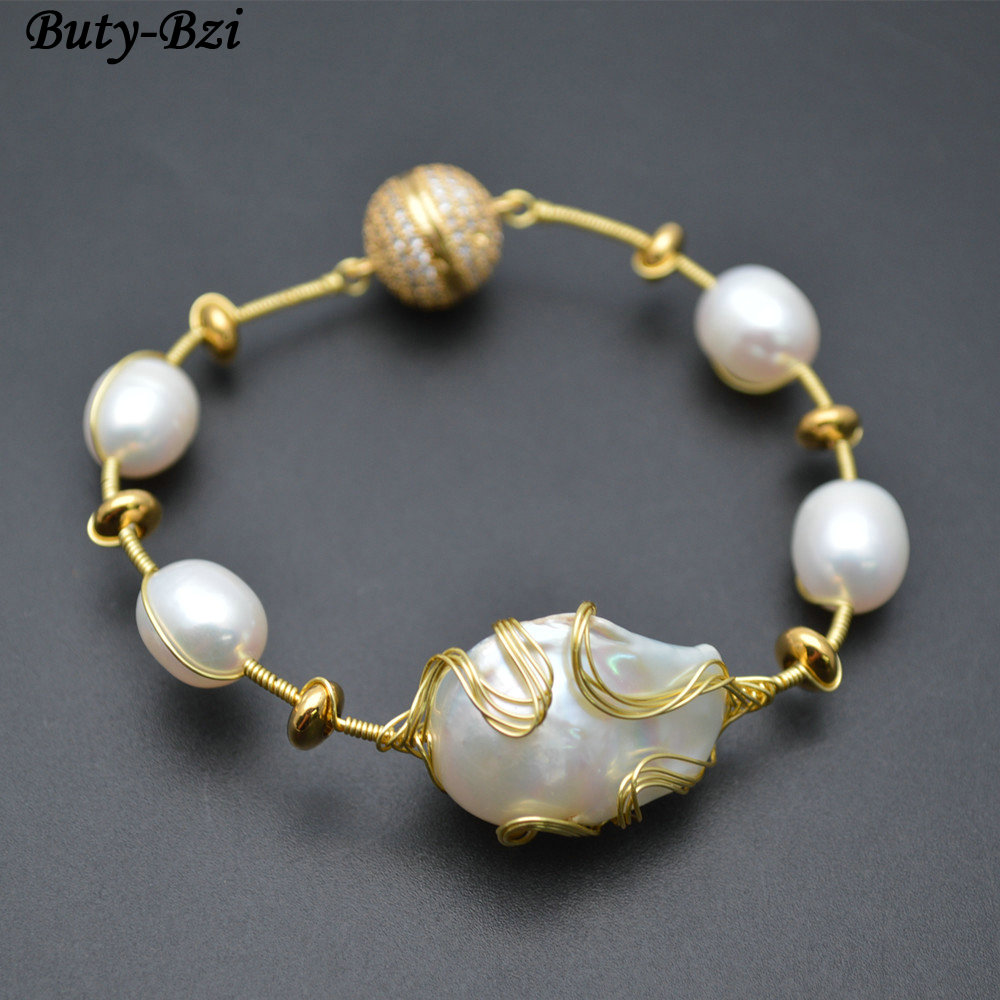High Quality Natural White Pearl Baroque Beads Gold Color Wire Wrapped Magnetic Clasp Cuff Bracelet Fashion Woman Jewelry
