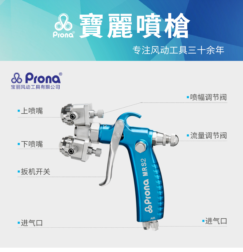 prona dual head manual spray gun MRS2-2R -8