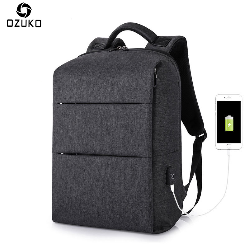 OZUKO New Business Backpack For 15.6inche USB Design Laptop Backpack Men Large Capacity Casual Student School Bag Travel Mochila ozuko new 15 6 inch laptop bag usb charging anti thief backpack men s casual school bag waterproof large capacity travel mochila