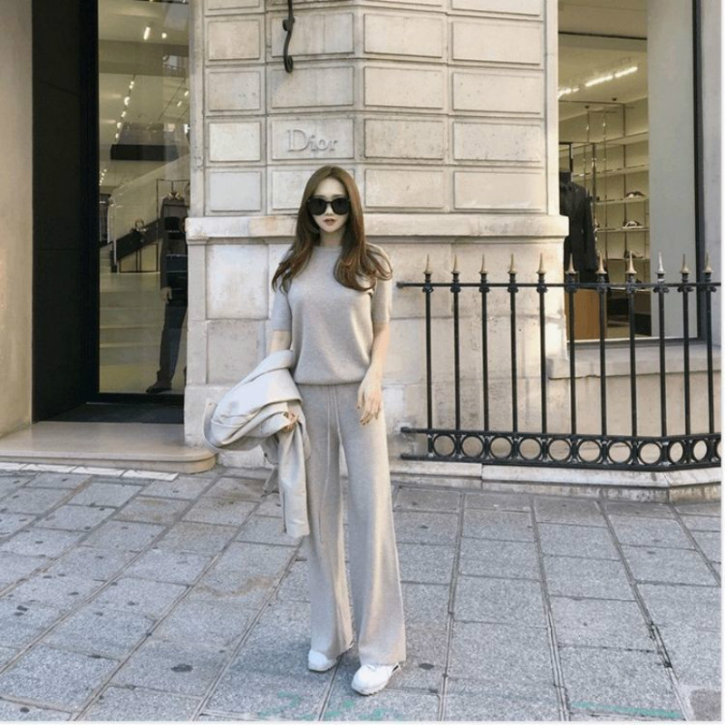 Women Autumn Winter Wool Cashmere Knitted warm Suit O neck Sweater Mink Cashmere Pants loose style