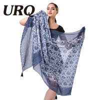 110 180Oversize Soft Cotton Blend Scarf With Tassels And Floral Print For Women Bohemian Style Summer