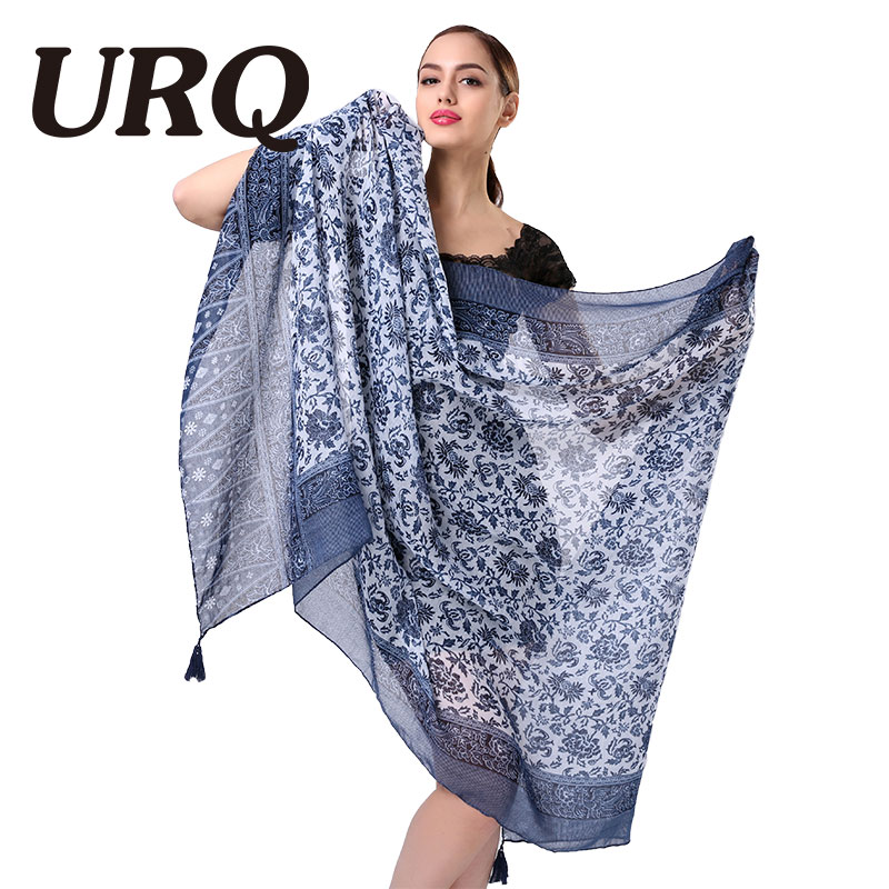 Fashion Woman Scarves With Tassels Floral Printed Scarf  For Women Girl 100cm*180cm Large Size Summer Shawls Soft V9A18544