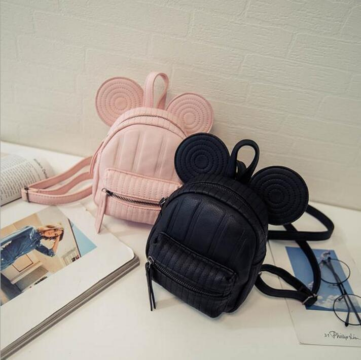 Mickey Backpack Sweet Fashion wild Women Backpack Bag PU Leather Mickey girl Cartoon Big Ears Small Mini Travel Shouder Bag fashion handbags pu leather women shoulder bag mickey big ears shell sweet bow chains crossbody female mini small messenger bag