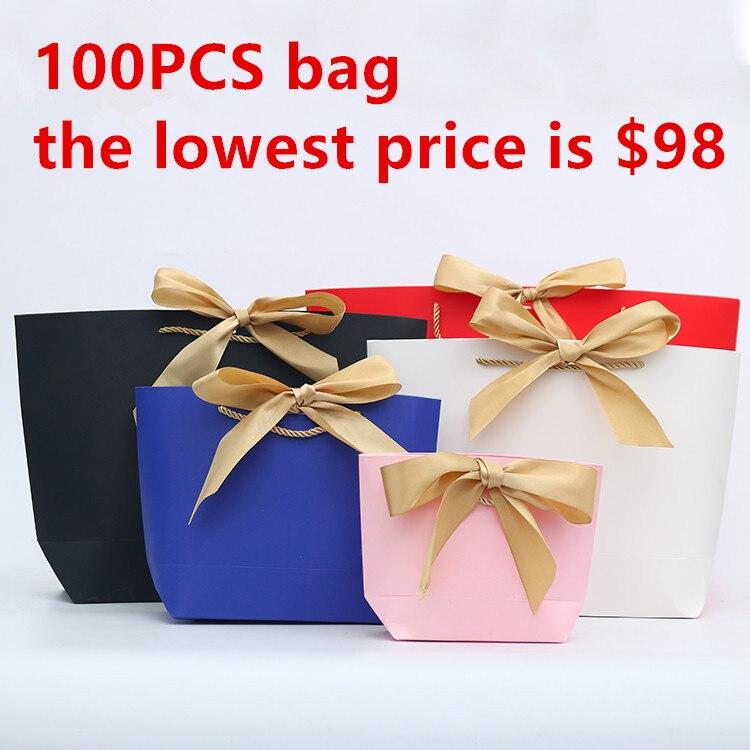 Wholesale 100PCS/LOT Customized lOGO Ship-type Paper Gift Bag With Gold Ribbon Bowknot White Black Packing
