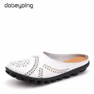Dobeyping جديد القصاصات الصيف الأحذية امرأة جلد طبيعي المرأة الشقق الجوف المرأة المتسكعون الإناث الأحذية الصلبة زائد حجم 35-44
