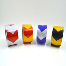5cmx10m  Reflective Warning Tape Self Adhesive Sticker with Red/White Yellow/Red Yellow/Black Blue/White Arrow Printing for Car