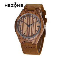 HEZONE Luxury Red Sandalwood Watch Genuine Leather Wood Watch Men Watch Popular Wooden Watches Clock MALE