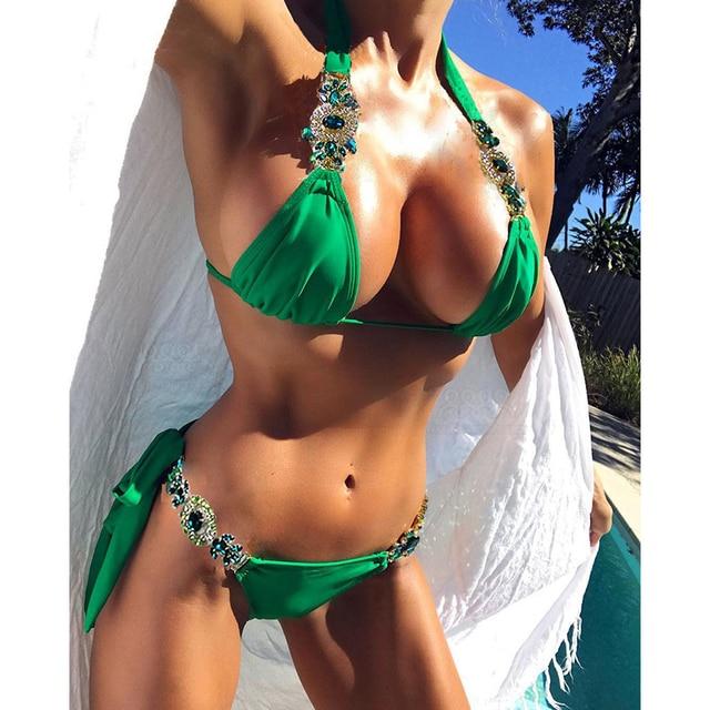 8a6f1c1c02d93 NIDALEE Beach Bandage Crystal Strap Sexy Bikini Pure Shiny Swimwear  Brazilian Sexy Bathing Suit Beautiful Split Women Swimsuit