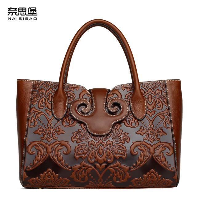 High Quality Women Luxury Brand Handbag Chinese Style Genuine Leather Pattern Shoulder Messenger Bag Free