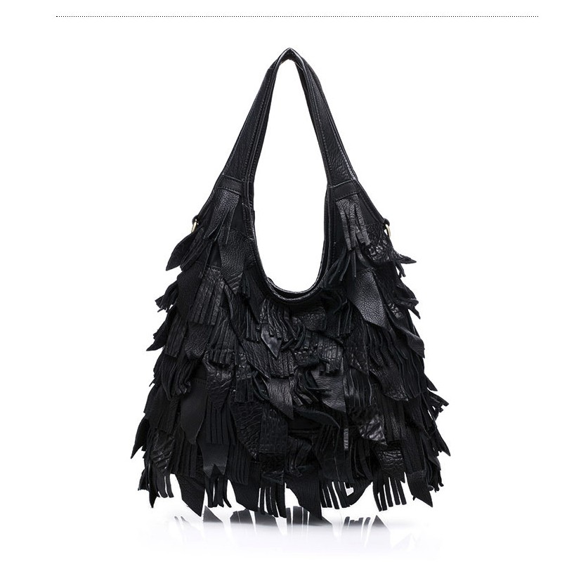 ФОТО  brand Handmade Colorful handbag Genuine leather women Tassel shopper bag female shoulder messenger bags for Laides