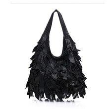 brand Handmade Colorful handbag Genuine leather women Tassel shopper bag female shoulder messenger bags for Laides