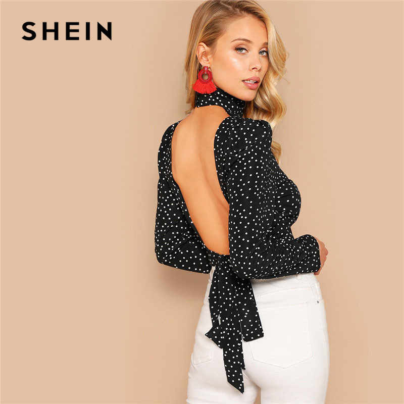 SHEIN Sexy Bogen Knoten Open Back Polka Dot Print Crop Bluse Frauen Frühling High Neck Backless Kurze Bloues Damen Tops