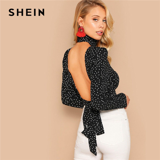 SHEIN Sexy Bow Knot Open Back Polka Dot Print Crop Blouse Women Spring High Neck Backless Short Bloues Ladies Tops