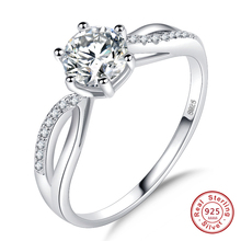Free Shipping Wholesale 6 prong Round Cut AAA White CZ Hollow 925 Silver Ring Size 5 6 7 8 9 10 New Saucy Jewelry For Women