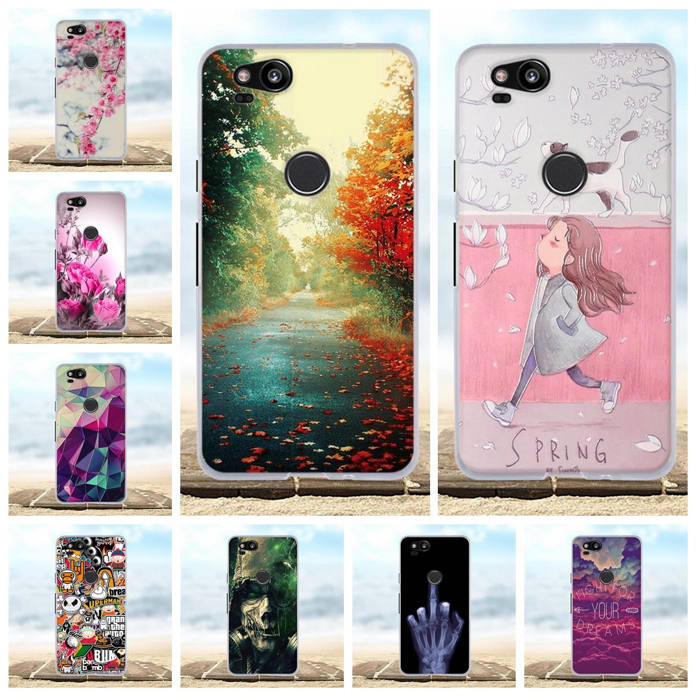 For Case Google Pixel 2 Cover Soft Silicone TPU Bag For Google Pixel 2 Case 3D Flower Pattern For Google Pixel2 Phone Cases