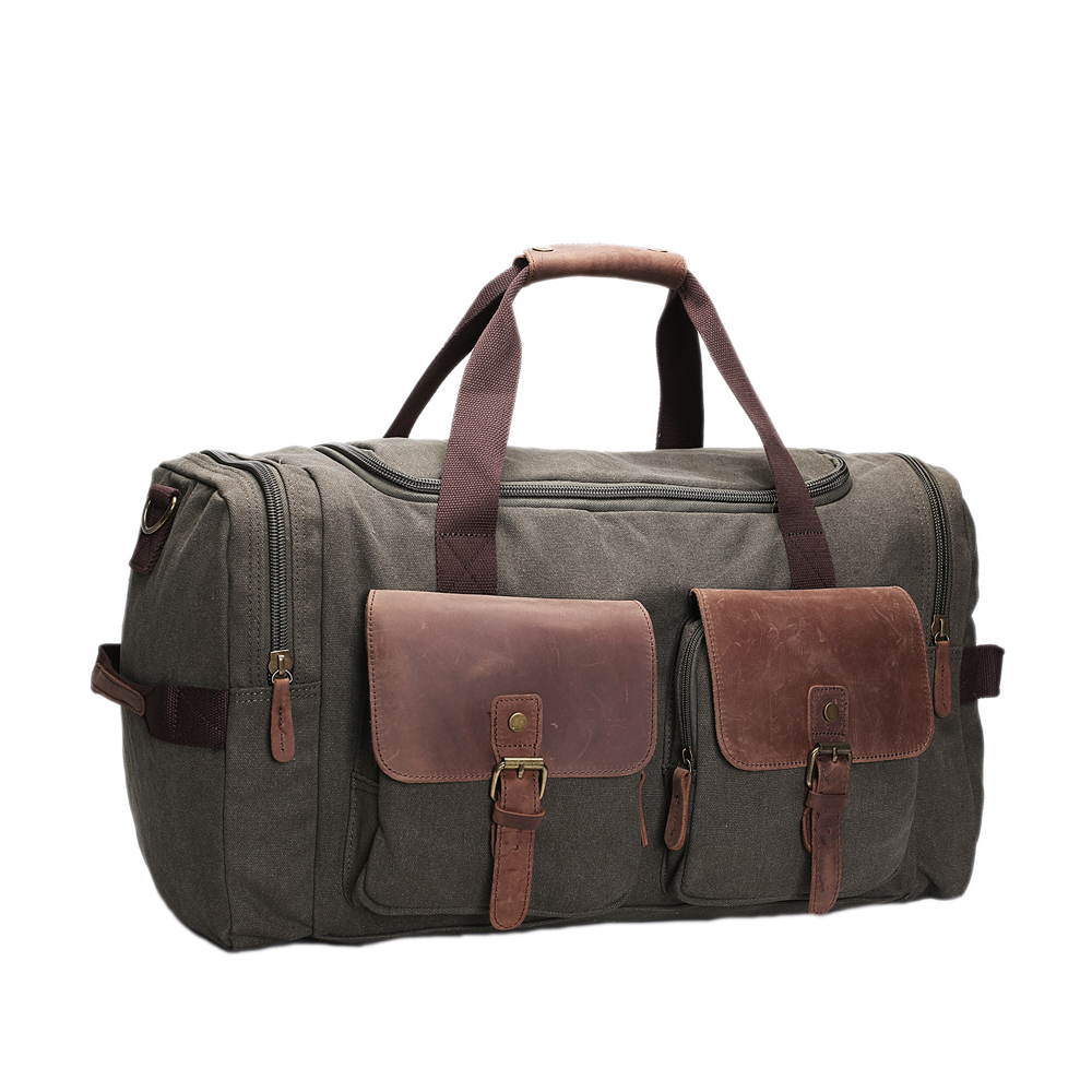 ROCKCOW Canvas Leather Men Travel Bags Carry on Luggage Bags Men Duffel Bags Travel Tote Large Weekend Bag Overnight AF14 mybrandoriginal travel totes wax canvas men travel bag men s large capacity travel bags vintage tote weekend travel bag b102