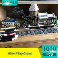36011 1010ピースストリートビューシリーズ冬村ステーションモデルビルディングブロックおもちゃ子供のためのギフト互換10259