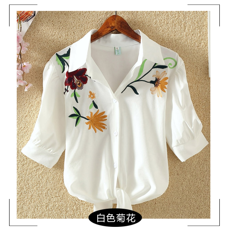 HTB1a3W1RFXXXXbMXFXXq6xXFXXXp - Women Shirts Korean Short Sleeve Flower Embroidery Clothes