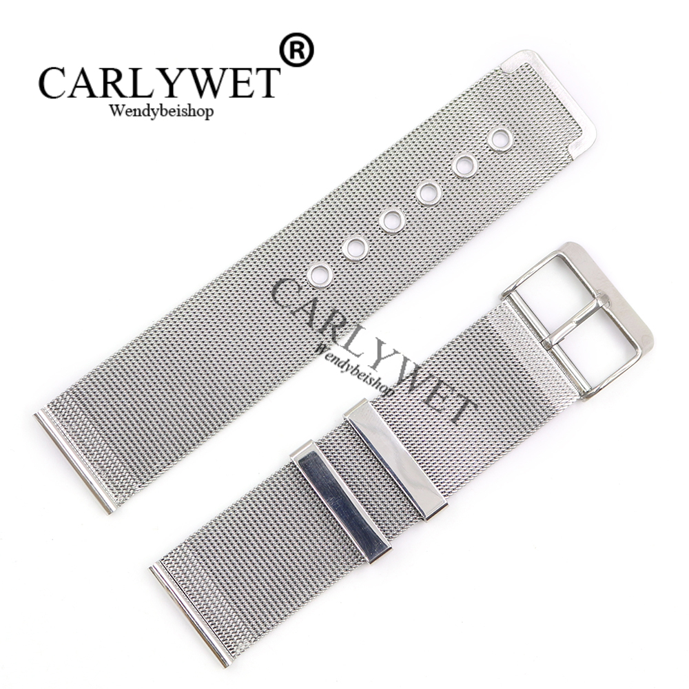 CARLYWET 20 22mm Silver 316L Stainless Steel Replacement Mesh Wrist Watch Band Strap Bracelet With Silver Polished Buckle carlywet 22 24mm silver solid screw links replaceme 316l stainless steel wrist watch band bracelet strap with double push clasp