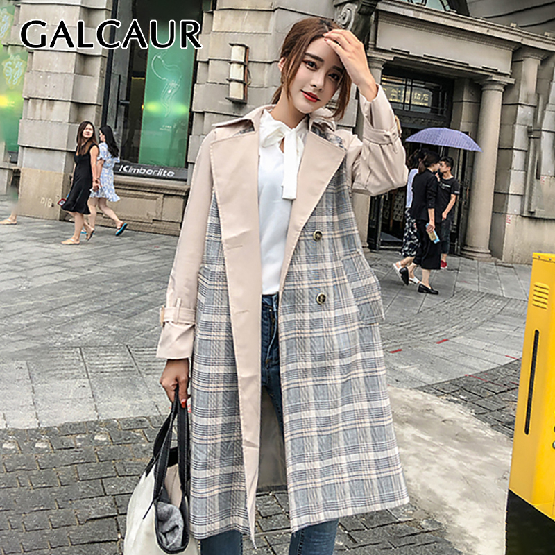 GALCAUR Patchwork Plaid   Trench   Coat Female Long Sleeve Double Breasted Windbreaker Coats Women 2019 Autumn New Fashion