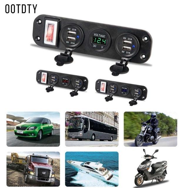 Novo conjunto Multifuncional Auto Car Boat Truck Motorbike DC 12 1 v 24 v 4 Adaptador de Carregador USB LED Digital voltímetro Com Interruptor Do Painel