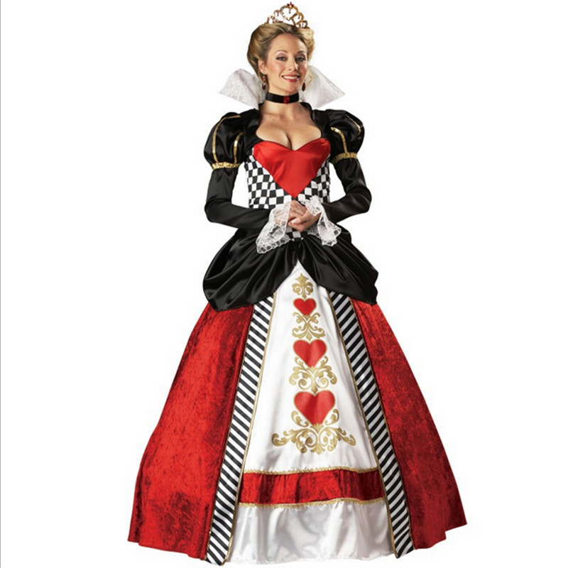 2016 new high quality queen of hearts playing card costume las vegas casino division uniforms alice - Las Vegas Halloween Costume