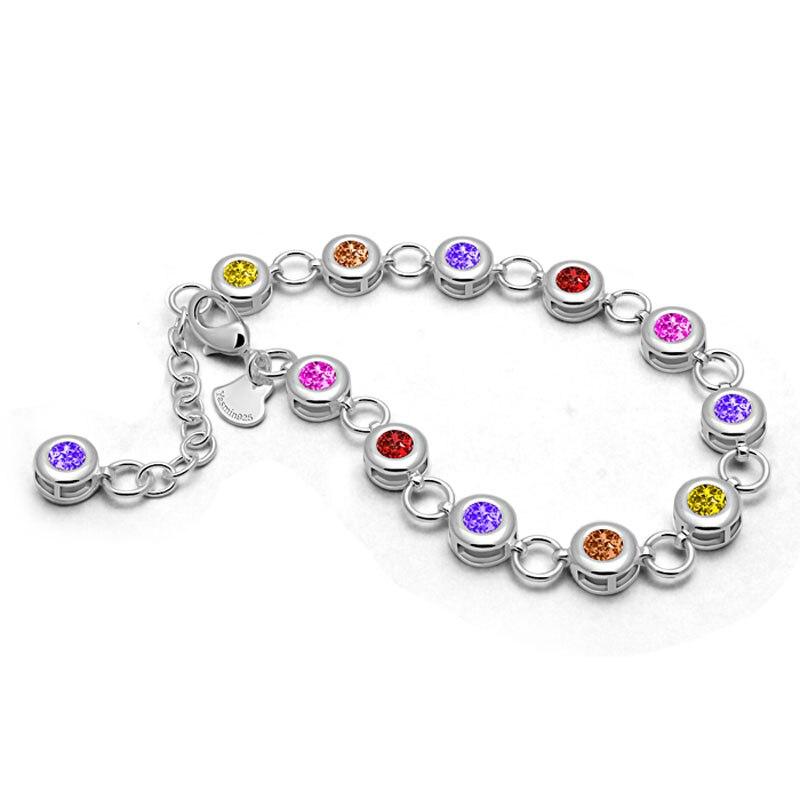 Fashion Brand Woman Bracelet Solid 925 Sterling Silver color zircon Charm Women / Girl Bracelets & Bangles Luxury Jewelry Gifts