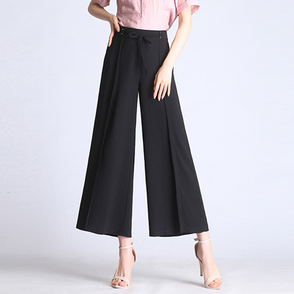 Chiffon   wide     leg     pants   women 2019 summer new plus size loose ankle-length   pants   ladies high waist wild skirt   pants   casual   pants