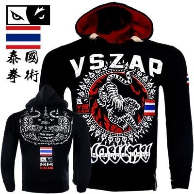 VSZAP MMA Long Sleeve Jacket Hoodies Wolf Head Boxer Keep Warm Breathable Sweatshirts Men Sporting Fighting