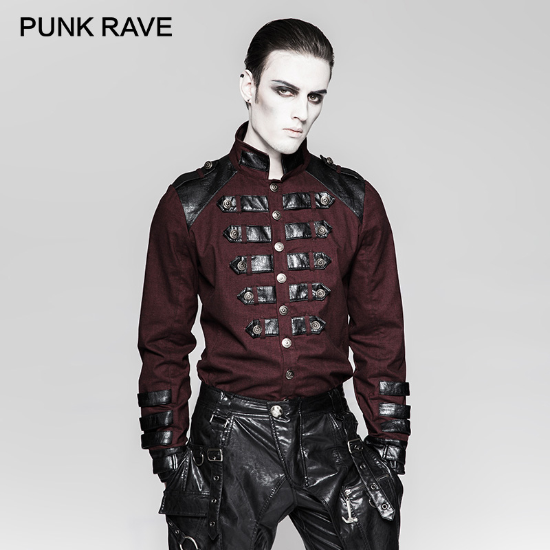 PUNK RAVE Steampunk Ilnverted Triangle Loop uniforme militar camisas Alemania Soldierly Standup Collar hombres camisa ropa delicada-in Camisas casuales from Ropa de hombre    1